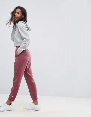 Asos Design Buckle Cut Out Back Peg Trousers-Multi