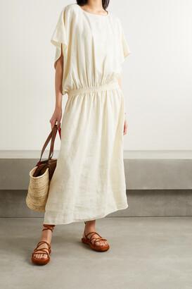 TORY BURCH - Shirred Linen Maxi Dress - Cream