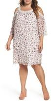 Daniel Rainn Plus Size Women's Lace Trim Cold Shoulder Shift Dress