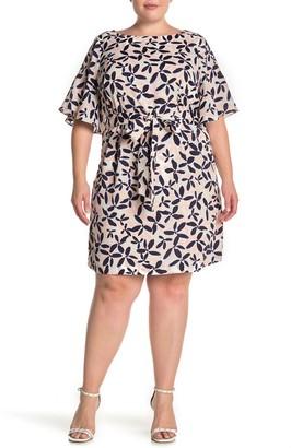 Brinker & Eliza Bell Sleeve Floral Print Midi Dress (Plus Size)