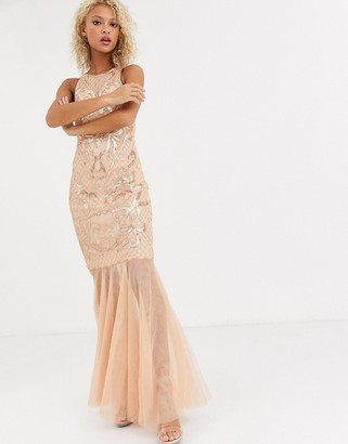 Forever U halter neck sequin maxi dress with tulle hem in soft pink