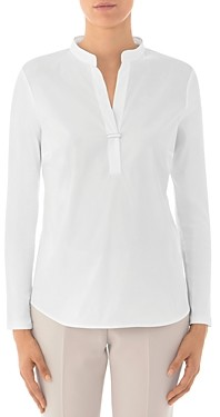 Peserico Paneled Knit-Sleeve Cotton-Blend Top