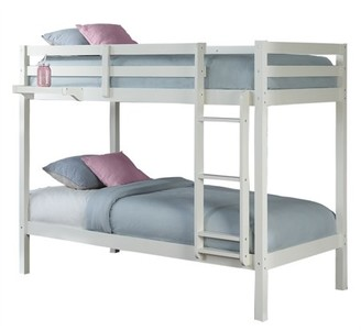 Hillsdale Furniture Hillsdale Caspian Bunk Bed Twin Over Twin Bunk with Hanging Nightstand Tray, White