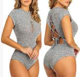 Moxeay Sexy Women Short Sleeve Bodysuit Bandage Jumpsuits Top