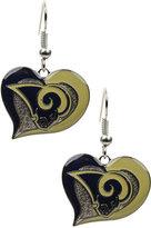 Aminco Los Angeles Rams Swirl Heart Earrings