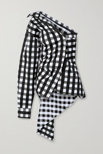 Marques Almeida Marques' Almeida - One-sleeve Asymmetric Checked Cotton-poplin Top - Black