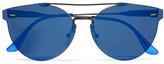 RetroSuperFuture Tuttolente Giaguaro Round-frame Acetate And Metal Mirrored Sunglasses - Blue