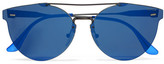RetroSuperFuture Tuttolente Giaguaro Round-frame Acetate And Metal Mirrored Sunglasses
