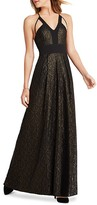 BCBGeneration Peek-A-Boo Foiled Lace Maxi Dress