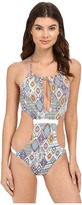 Red Carter Braided High Cali Neck Monokini One-Piece