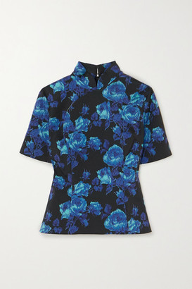 Richard Quinn Floral-print Crepe Top - Blue