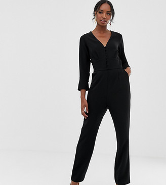 Y.A.S Tall Plunge Wide Neck Jumpsuit-Black