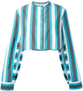Ports 1961 striped cropped shirt - women - Cotton/Cupro - 36