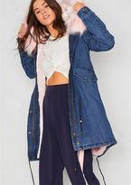 Missy Empire Matilda Pink Denim Faux Fur Parka Coat