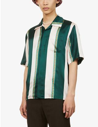 Casablanca Laurel striped relaxed-fit silk shirt