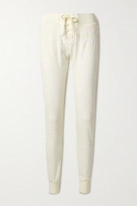 WSLY Lace-up Organic Cotton-blend Jersey Track Pants - Cream