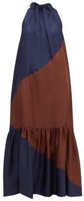 Asceno - Ibiza Bi-colour Silk Maxi Dress - Womens - Navy Multi