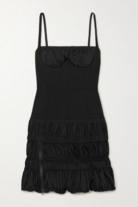 Thierry Mugler Gathered Wool-blend Mini Dress - Black