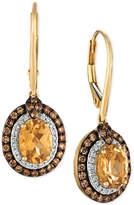 LeVian Le Vian Chocolatier® Yellow Beryl (1-3/4 ct. t.w.) and Diamond (5/8 ct. t.w.) Drop Earrings in 14k Gold
