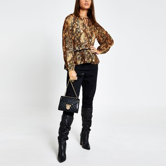 River Island Womens Brown animal print long sleeve smock blouse