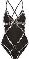 Norma Kamali Mio Crystal-embellished Swimsuit - Black