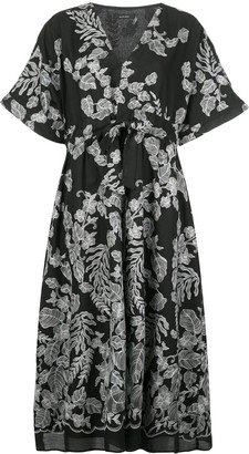 Natori Flared Foliage-Print Dress