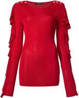 Balmain ruffled button shoulder blouse