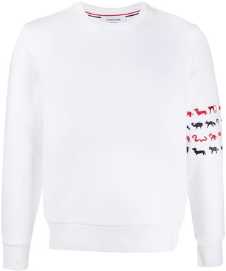 Thom Browne 4-Bar stripe animal-print sweatshirt