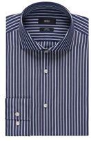 HUGO BOSS Jason Slim Fit, Striped Easy Iron Cotton Dress Shirt 15.5Blue