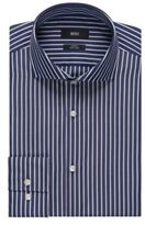 HUGO BOSS Striped Easy-Iron Cotton Dress Shirt, Slim Fit Jason 15.5Blue
