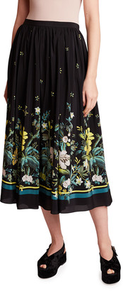 Erdem Lanie Forest Motif Silk Skirt
