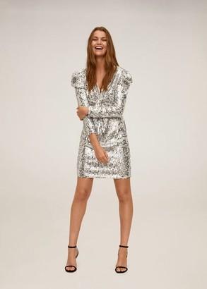 MANGO Short sequin dress silver - 2 - Women