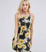 Asos Sunflower Print Strappy Back A-Line Sundress