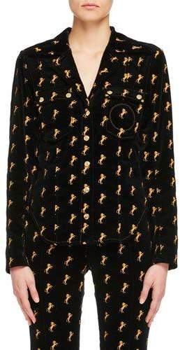 Chloé Horse-Embroidered Velvet Shirt