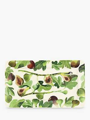 Emma Bridgewater Vegetable Garden Figs Oblong Plate, 31cm, Green/Multi