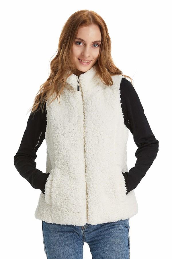 Relish Noless Faux Fur Vest Women Winter Fleece Sherpa Beige Women Vest Lightweight Warm Zip Up Women Faux Fur Waistcoat Soft Casual Fashion Women Sleeveless Jacket Stand/Pockets-XXS