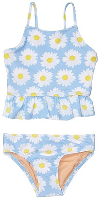 crewcuts by J.Crew Two-Piece Daisy Peplum Tankini (Toddler/Little Kids/Big Kids) (Light Blue/White) Girl's Swimwear Sets