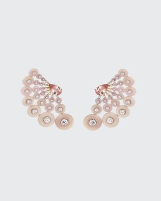 Fernando Jorge Astro Earrings in 18K Rose Gold Diamonds, Pink Opal and Morganite