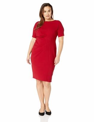 Maggy London Plus Size Women's Novelty Knit arc Shoulder Sheath