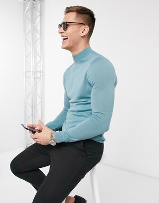 ASOS DESIGN muscle fit merino wool turtle neck jumper in green