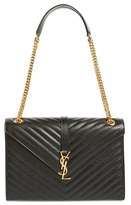 Saint Laurent 'Large Monogram' Grained Leather Shoulder Bag - Black