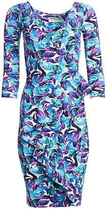 Chiara Boni Three-Quarter Sleeve Ruffle Floral Dress
