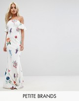 City Goddess Petite Bandeau Maxi Dress In Floral Print