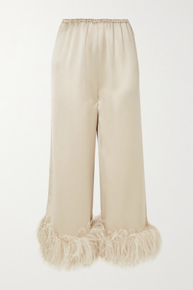 16Arlington Mandrake Feather-trimmed Satin Wide-leg Pants - Beige