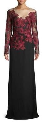 Tadashi Shoji Floral Mesh Evening Gown