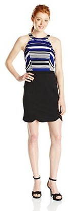 XOXO Women's Halter Neck Stripe Bodice Dress