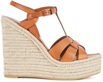 Saint Laurent Tribute 125 brown leather wedge sandals