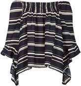 Izabel London Striped Frill Sleeve Top