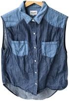 American Retro Blue Cotton Top for Women