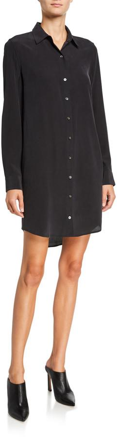 Equipment Essential Long-Sleeve Silk Shirtdress